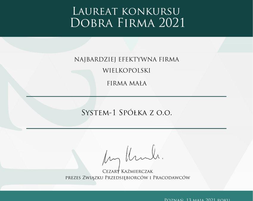 list gratulacyjny Najbardziej Efektywna Firma w Wielkopolsce 2021 System-1 Veritum Poznań Związek Przedsiębiorców i Pracodawców