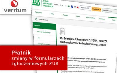 Płatnik (aktualizacja) – zmiany w dokumentach ZUS ZUA i ZUS ZZA