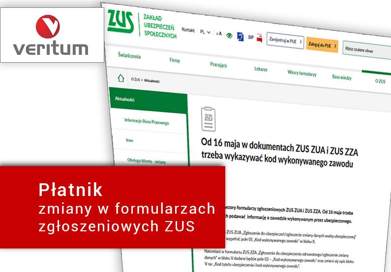 Płatnik zmiany w dokumentach ZUS ZUA i ZUS ZZA