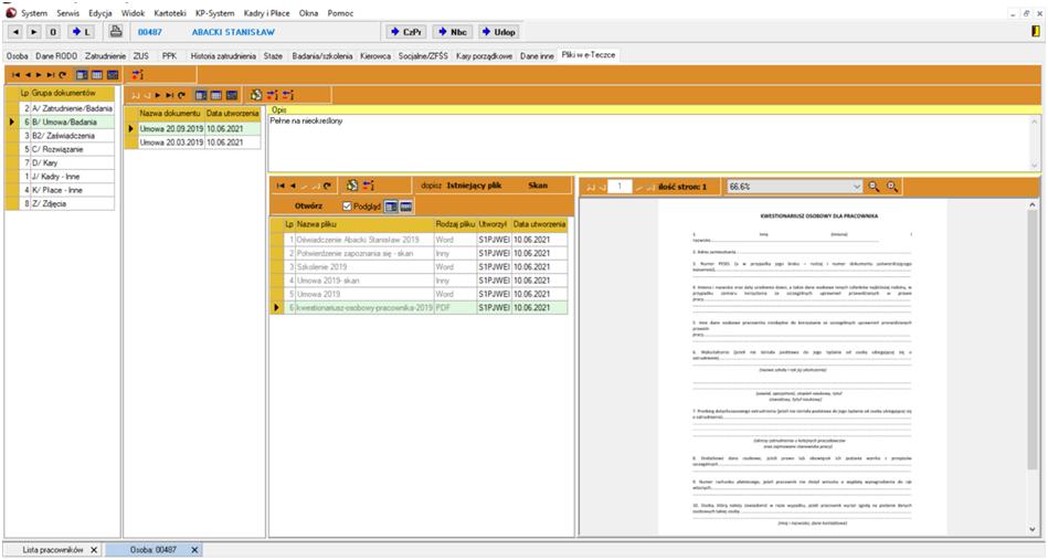 e-teczka elektroniczne akta pracownika